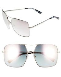 Kendall + Kylie - 65mm Navigator Sunglasses - Shiny Silver/ Pink Mirror - Lyst
