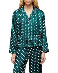 TOPSHOP Green Tile Print Jacquard Pyjama Shirt