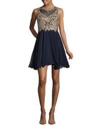 Xscape - Mesh Applique Party Dress - Lyst