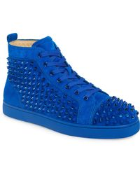 on sale 8bc38 0ff03 Louis Spike Embellished High Top Suede Sneakers - Blue