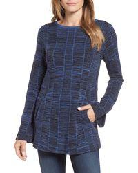 NIC+ZOE Symmetry Cotton Blend Sweater - Blue