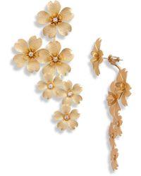 Serefina Cherry Blossom Drop Earrings - Metallic