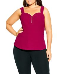 City Chic Zip Front Sweetheart Top - Red