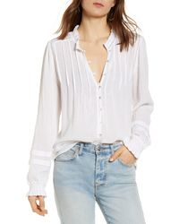 Faherty Brand Willa Button Front Peasant Blouse - White