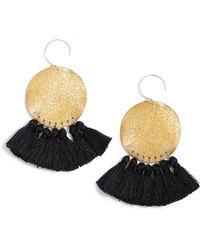 Serefina Lunar Tassel Earrings - Blue