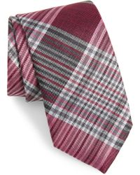 Calibrate Hogarth Plaid Silk Tie - Pink