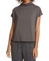 Eileen Fisher Funnel Neck Fine Jersey Top - Black