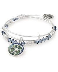 ALEX AND ANI - Four-leaf Clover Art Infusion Set Of 2 Bangles - Lyst