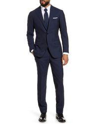 Ring Jacket Calm Twist Trim Fit Solid Wool Suit - Blue