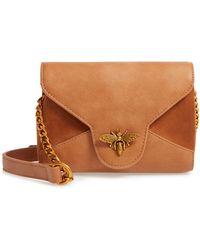 Sondra Roberts Bee Lock Faux Leather Crossbody Bag - Brown