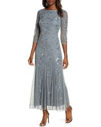 Pisarro Nights Embellished Mesh Gown - Multicolor