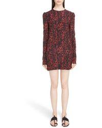 Saint Laurent - Silk Crepe De Chine Leopard Print Shift Dress - Lyst