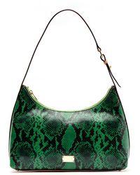 Frances Valentine Laura Snake Embossed Leather Hobo - Green