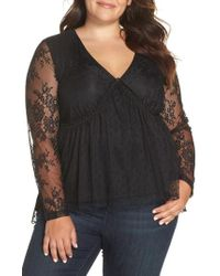 Lost Ink - Lace Overlay Blouse - Lyst
