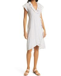 Rails Louisa Stripe Ruffle Detail Linen Blend Wrap Dress - White