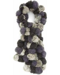 La Fiorentina Genuine Rabbit Fur Scarf - Gray