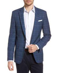 BOSS - Hutsons Trim Fit Plaid Wool Sport Coat - Lyst