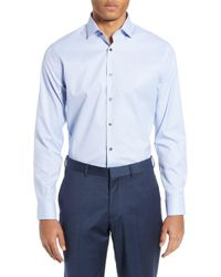 Calibrate - Trim Fit Stretch No-iron Solid Dress Shirt - Lyst