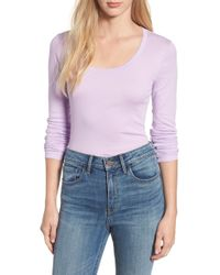Caslon - Caslon Long Sleeve Scoop Neck Cotton Tee - Lyst
