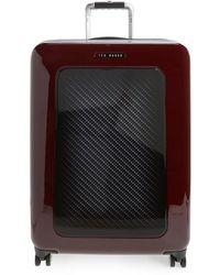 """Ted Baker - Medium 28"""" Hard Shell Spinner Suitcase - Burgundy - Lyst"""