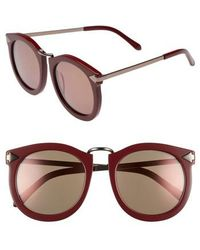 Karen Walker - Super Lunar 53mm Round Sunglasses - Burgundy - Lyst