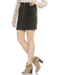 Vince Camuto Washed Corduroy Zip Front Miniskirt - Black