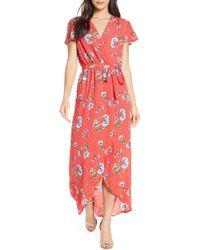 Fraiche By J High Low Wrap Dress - Red