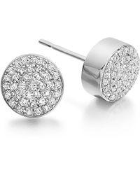 Monica Vinader 'ava' Diamond Button Stud Earrings - Metallic