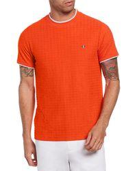 Original Penguin Psycho Bunny Terry Geo Jacquard T-shirt - Orange