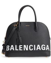 Balenciaga - Medium Ville Logo Leather Satchel - - Lyst