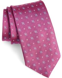 David Donahue Geometric Silk Tie - Multicolour