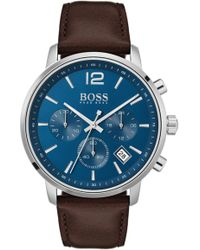 BOSS - Attitude Chronograph Leather Strap Watch - Lyst