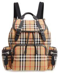 ebcbc2d9fb3e Burberry - Medium Rucksack Check Cotton Backpack - Lyst
