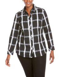 Foxcroft - Mary Windowpane Wrinkle Free Shirt - Lyst