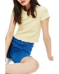 TOPSHOP - Short Sleeve Waffle T-shirt - Lyst
