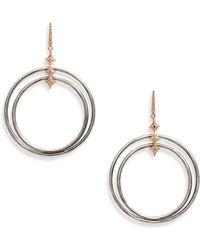 Armenta New World Diamond Double Circle Drop Earrings - Metallic