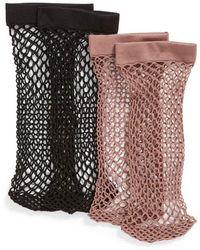 Nordstrom - 2-pack Fishnet Ankle Socks, Black - Lyst