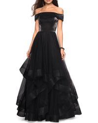 La Femme Off The Shoulder Evening Dress - Black