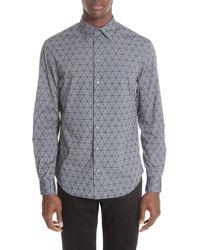 Emporio Armani - Regular Fit Geometric Sport Shirt - Lyst