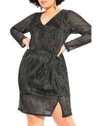City Chic Sparkle Body-con Dress - Multicolor