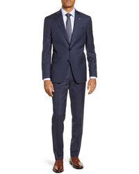 Ted Baker Jay Trim Fit Plaid Wool Suit - Blue