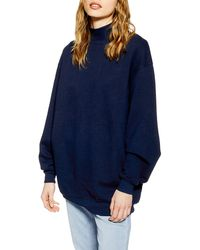 TOPSHOP Navy Funnel Neck Sweatshirt - Blue