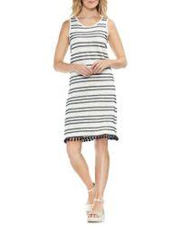 Vince Camuto - Fringe Hem Stripe Cotton Blend Dress - Lyst