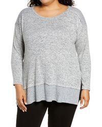 Bobeau Cozy Marled Pullover Tunic - Gray