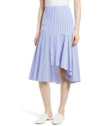 Nordstrom - Asymmetrical Stripe Cotton Skirt - Lyst