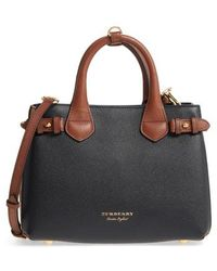 Burberry - Small Banner House Check Leather Derby Tote - - Lyst