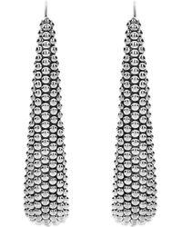 Lagos Signature Caviar Linear Earrings - Metallic