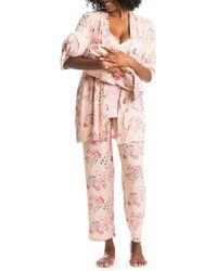 Everly Grey Analise During & After 5-piece Maternity/nursing Sleep Set - Pink