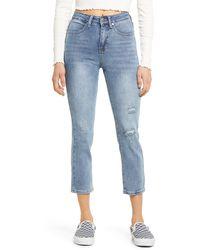 BP. Ripped High Waist Straight Leg Jeans - Blue