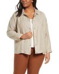 Eileen Fisher - Classic Collar Organic Linen Jacket - Lyst